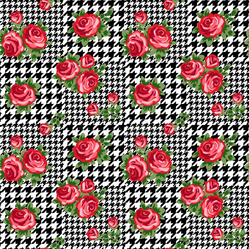 Vector houndstooth seamless black and white pattern with red retro roses royalty free illustration