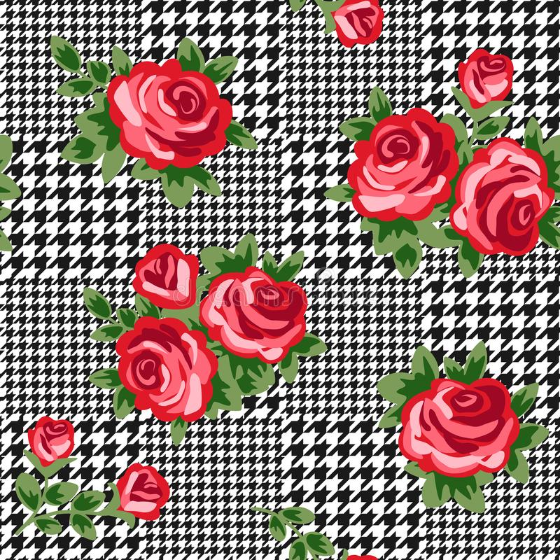 Vector houndstooth seamless black and white pattern with red retro roses stock illustration