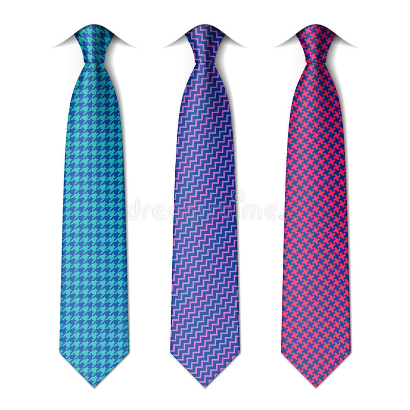 Houndstooth and zigzag patterns ties royalty free illustration