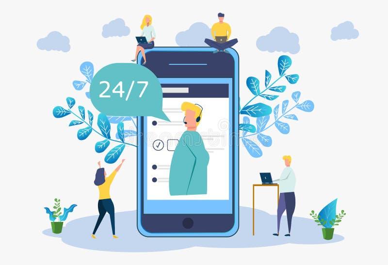 24-hour customer service, male helpline operator advises the customer, 24/7 global technical support online. 24/7 global technical support online, customer and vector illustration