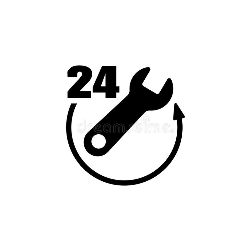 24 Hour Emergency Service Flat Vector Icon royalty free illustration