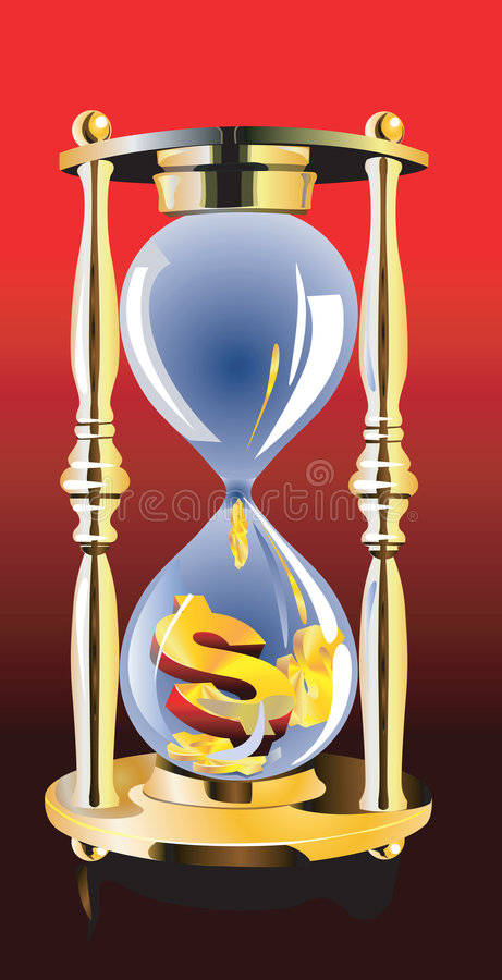 Hour glass. Gold dollar in hour glass