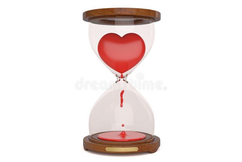 Hour glass heart on blue background,3D illustration. vector illustration