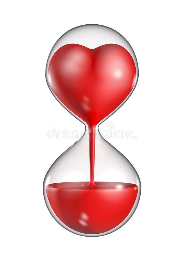 Hour glass heart. 3D render of heart flowing from top of hour glass vector illustration