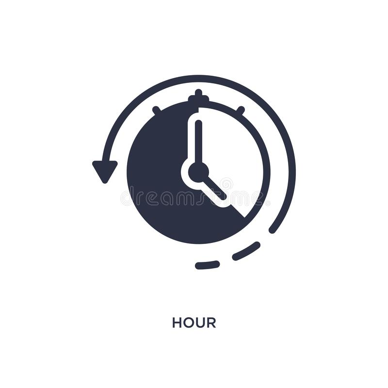 hour icon on white background. Simple element illustration from user interface concept vector illustration