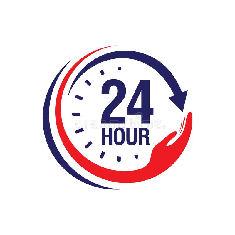 24 hour medical care service vector icon. day/night services button symbol. illustration of 24/7 sign isolated over a white. Background, 12, hours, 24-7, 24h royalty free illustration