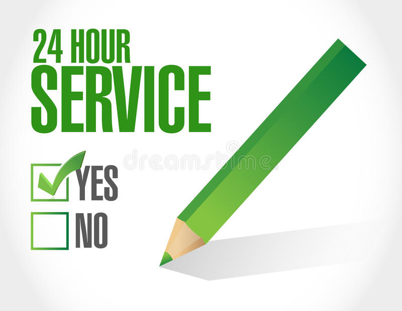 24 hour service check list illustration royalty free stock image
