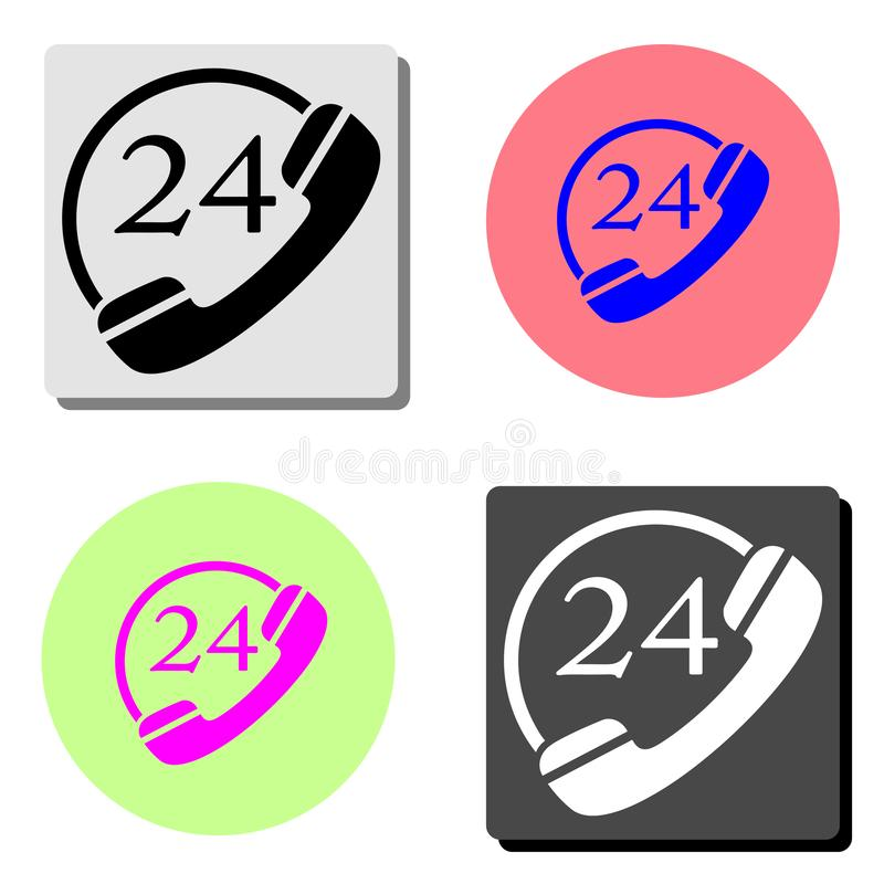 24 hour service. flat vector icon royalty free illustration