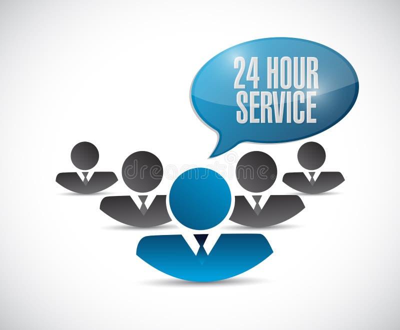 24 hour service people sign illustration design stock image