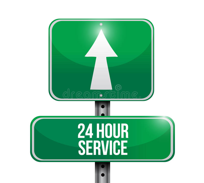24 hour service street sign illustration design royalty free stock photography