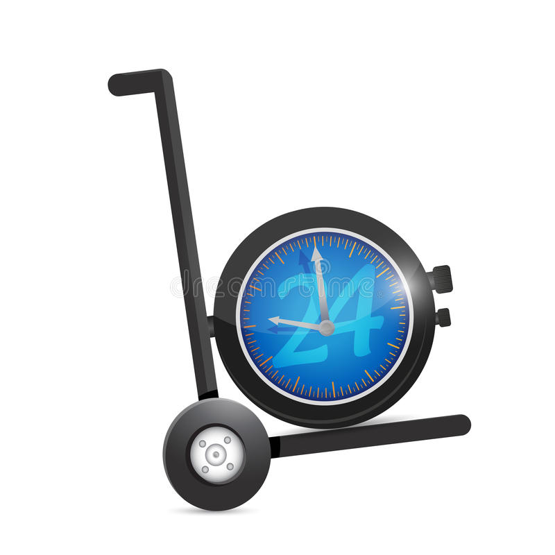 24 hour service watch on a dolly. vector illustration