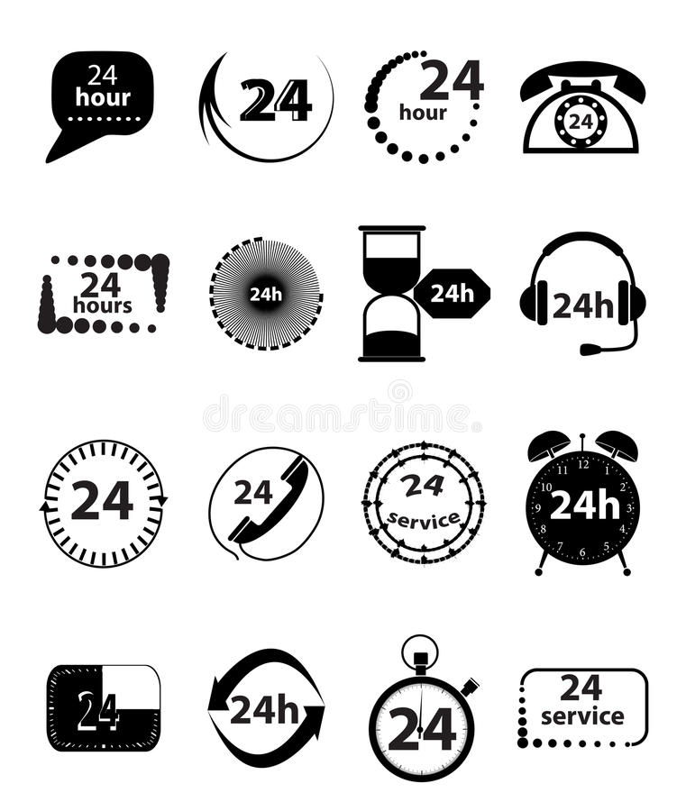 24 Hour Services Icons Set vector illustration