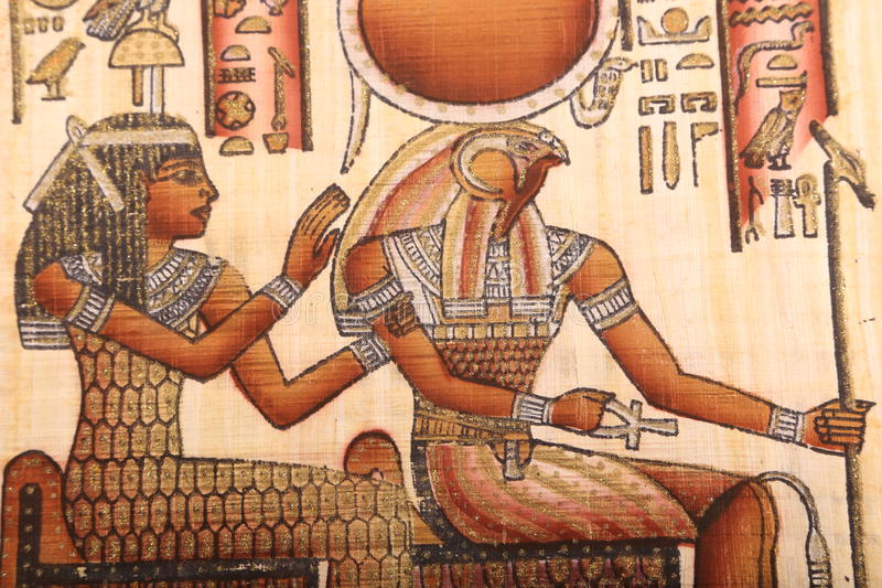 Houras God, Old Egyptian art on papyrus stock photography
