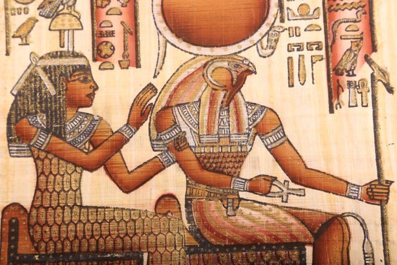 Houras-Gott, alte ägyptische Kunst auf Papyrus stockfotografie