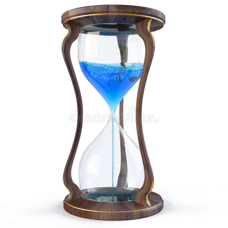 Hourglass. Wooden hourglass with a blue liquid flowing down. isolated on white stock illustration