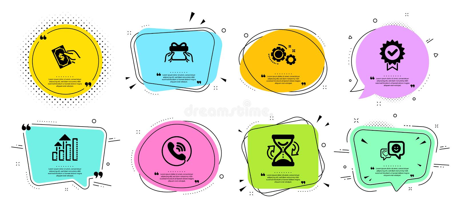 Hourglass, Analysis graph and Smile icons set. Call center, Give present and Pay money signs. Vector. Hourglass, Analysis graph and Smile line icons set. Chat vector illustration