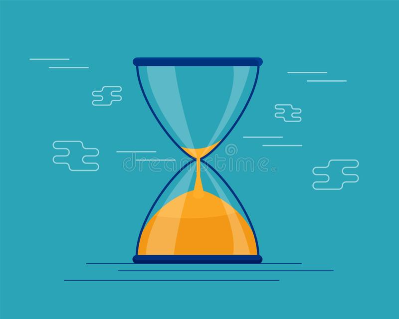 Hourglass antyka instrument Hourglass jako czasu przelotny pojęcie dla biznesowego ostatecznego terminu, pilności i bieg z czasu, ilustracji