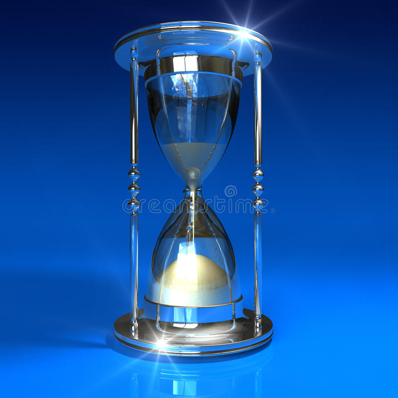 Hourglass on blue stock illustration