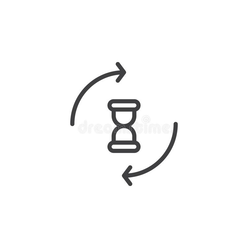 Hourglass with circling arrows line icon. Outline vector sign, linear style pictogram isolated on white. Processing sandglass symbol, logo illustration vector illustration