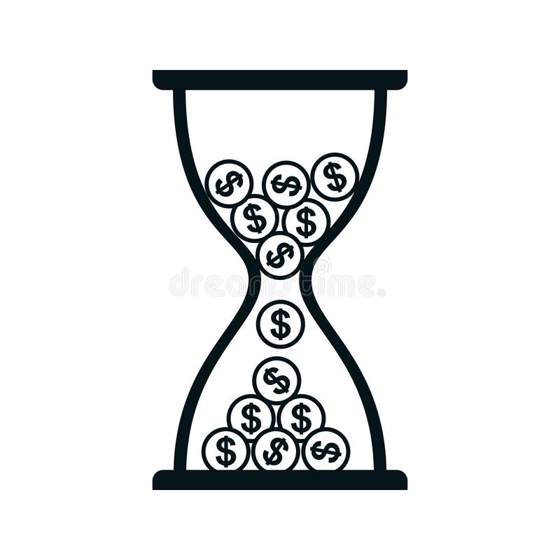 Hourglass with coins icon, time is money - vector. Hourglass with coins icon, time is money - stock vector royalty free illustration