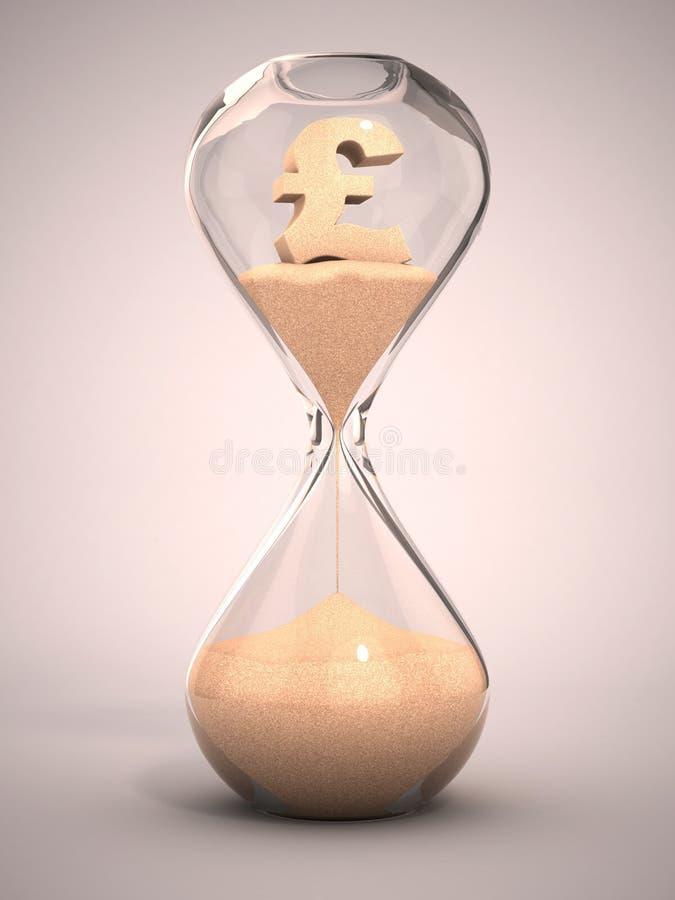 Hourglass com a areia dada forma sinal da libra ilustração do vetor