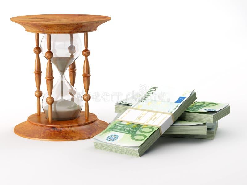 Hourglass com euro ilustração do vetor