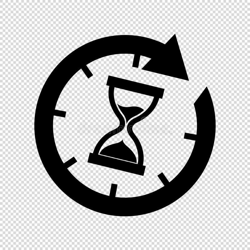 Hourglass czasu ikona Odizolowywająca Na Przejrzystym tle - Wektorowa ilustracja - royalty ilustracja