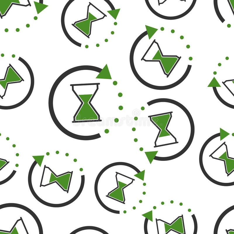 Hourglass czasu ikony bezszwowy deseniowy tło Biznesowy mieszkanie v ilustracji