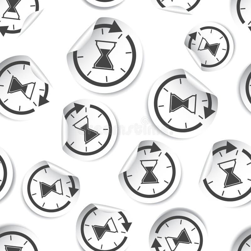 Hourglass czasu majcheru ikony bezszwowy deseniowy tło Biznes ilustracji