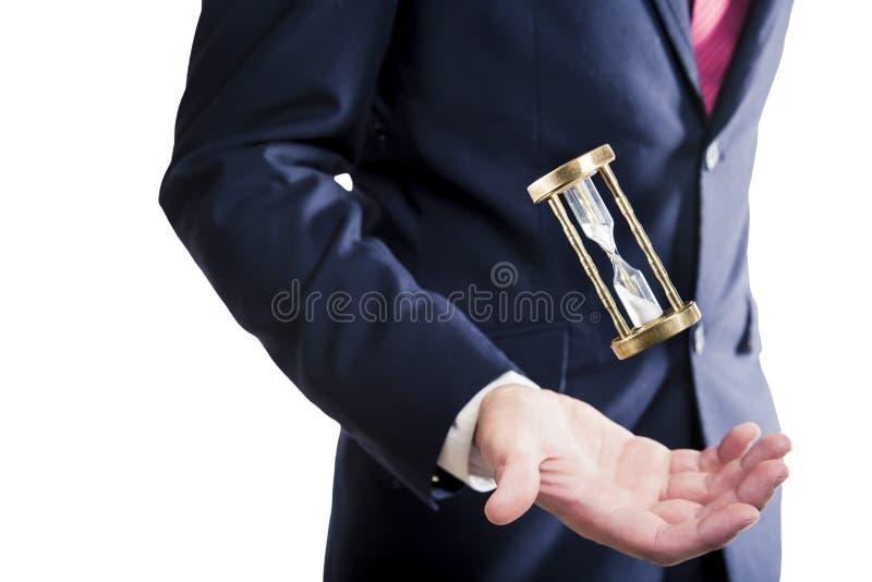 Hourglass, czasu pojęcie z biznesmenem obrazy royalty free