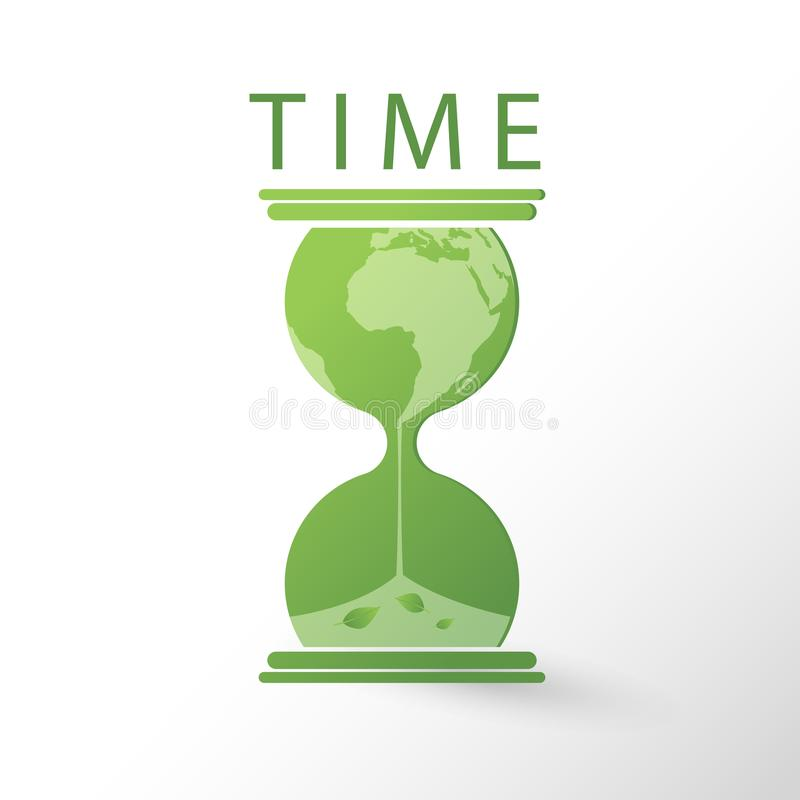 Hourglass with a earth globe flowing melting stock illustration
