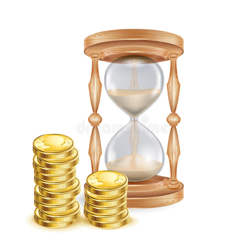 Hourglass with golden coins isolated on white stock photography