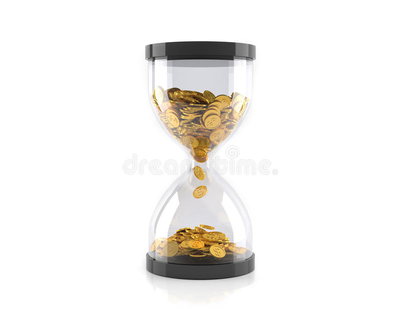 Hourglass with golden coins, Time is money concept. 3D illustration vector illustration