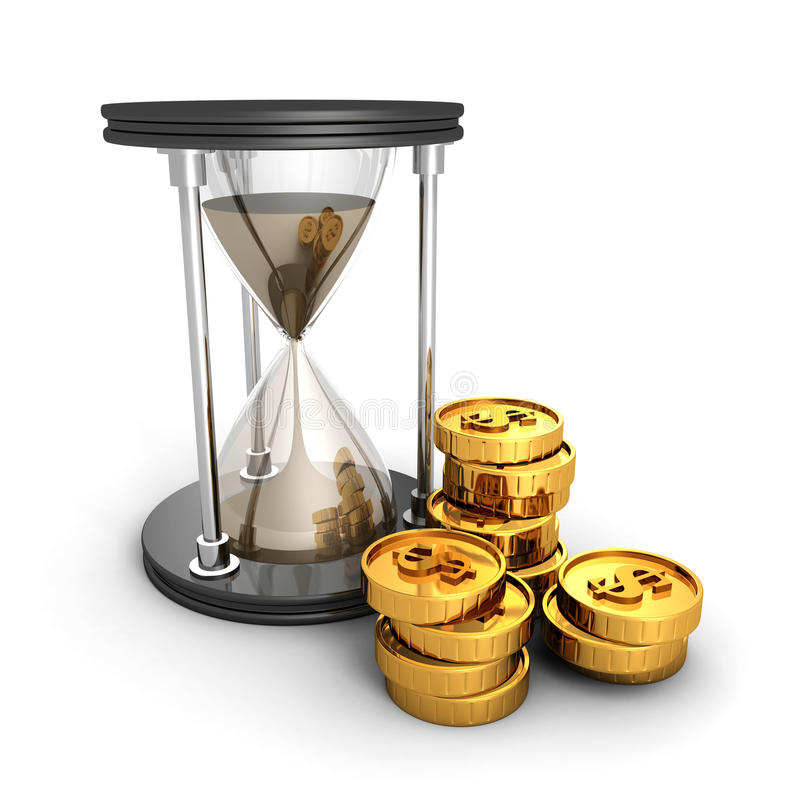 Hourglass With Golden Dollar Coins. Time Is Money Concept. 3d Render Illustration stock image