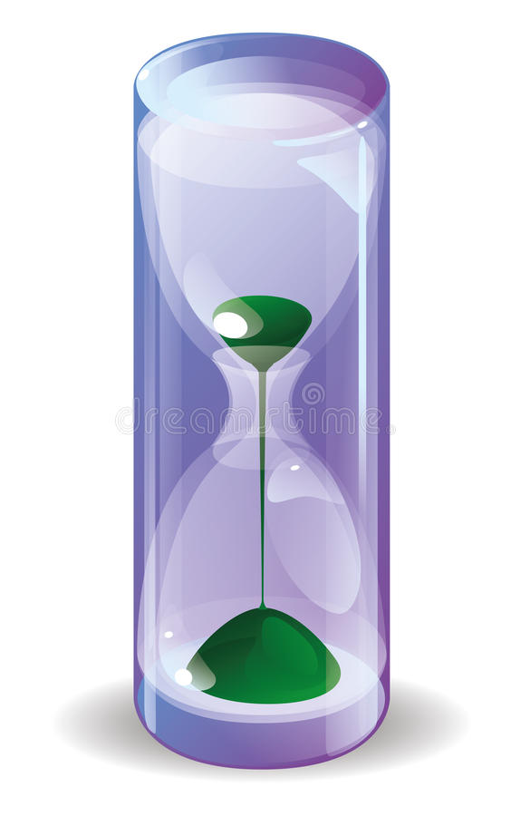 Download Hourglass with green sand stock vector. Image of inside - 37265562