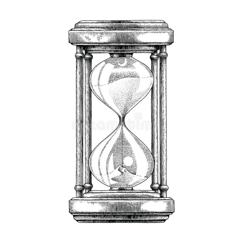 Hourglass hand drawing vintage style stock illustration