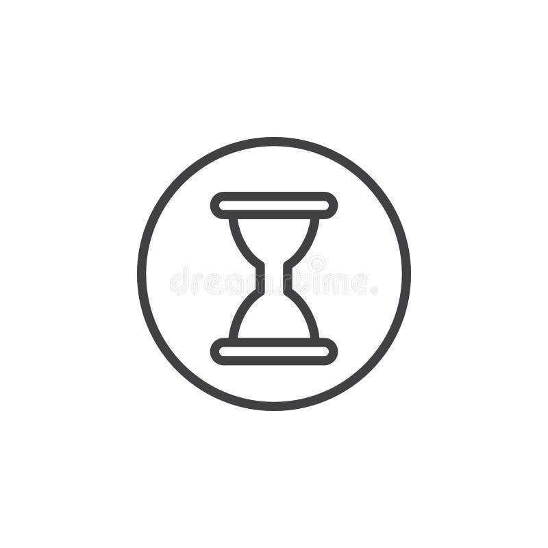 Hourglass, historia, czas kurendy linii ikona Round prosty znak royalty ilustracja