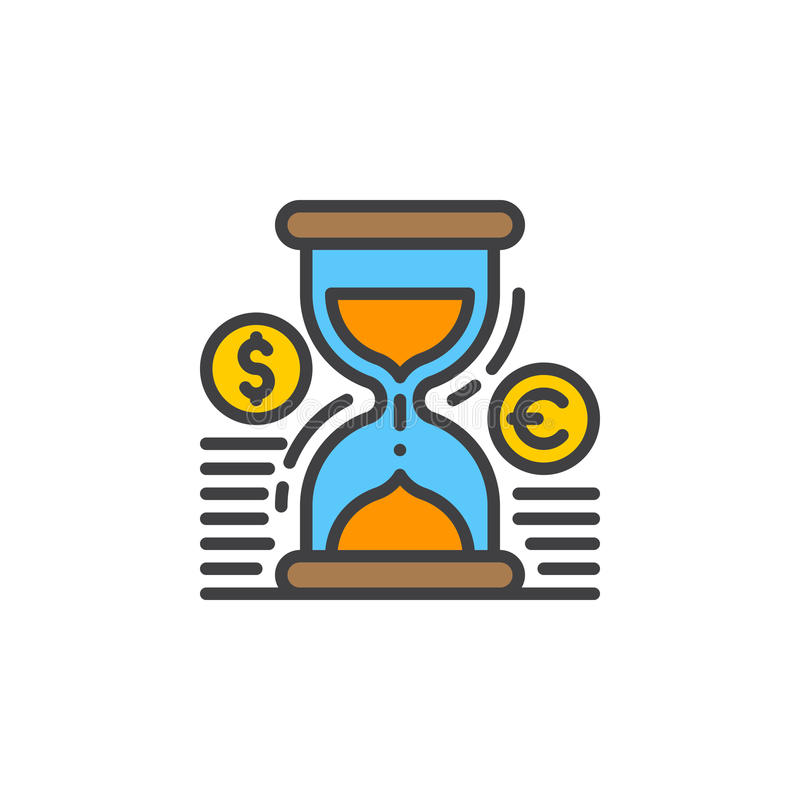 Hourglass i monety wykładamy ikonę, wypełniający konturu wektoru znak, liniowy kolorowy piktogram na bielu royalty ilustracja