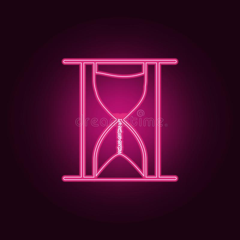 hourglass icon. Elements of measuring elements in neon style icons. Simple icon for websites, web design, mobile app, info stock illustration