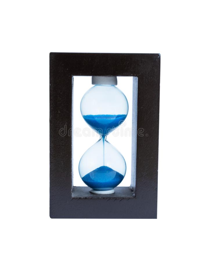 Hourglass isolated on white background. Minute measuring instrument. Hourglass on white stock photography