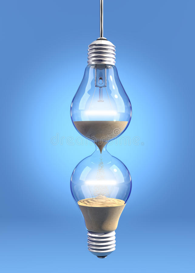 Hourglass lightbulb. Incandescent light bulbs filled with sand and linked together royalty free illustration