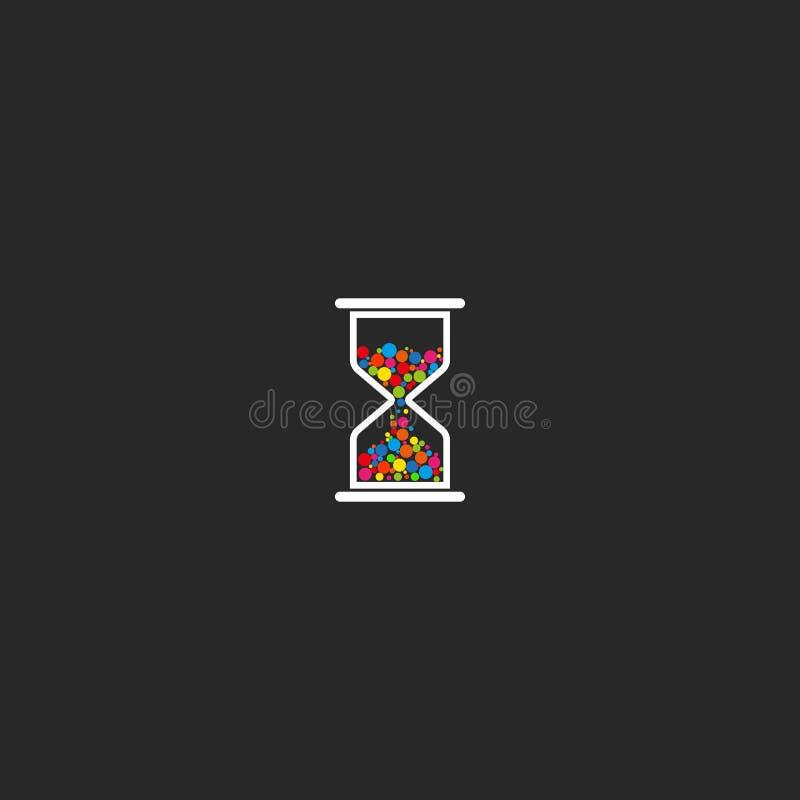 Hourglass logo czasu ikony kreatywnie pomysł na czarnym tle, sandglass barwiący okrąża zegaru emblemat ilustracja wektor