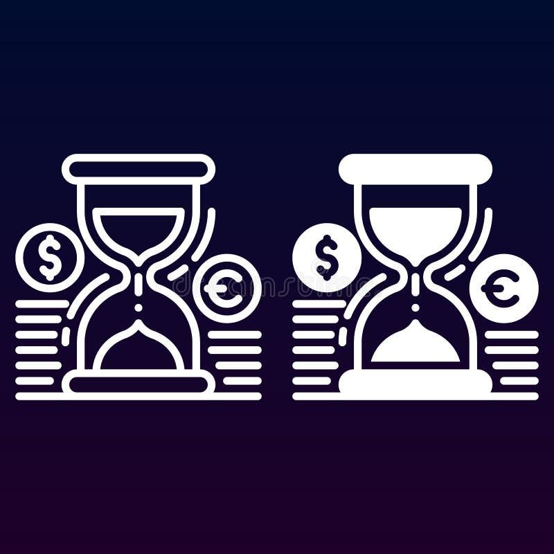 Hourglass, monety, stała ikona, kontur i piktogram kreskowi odizolowywający na bielu, wypełniający wektoru znaka, liniowego i peł ilustracja wektor