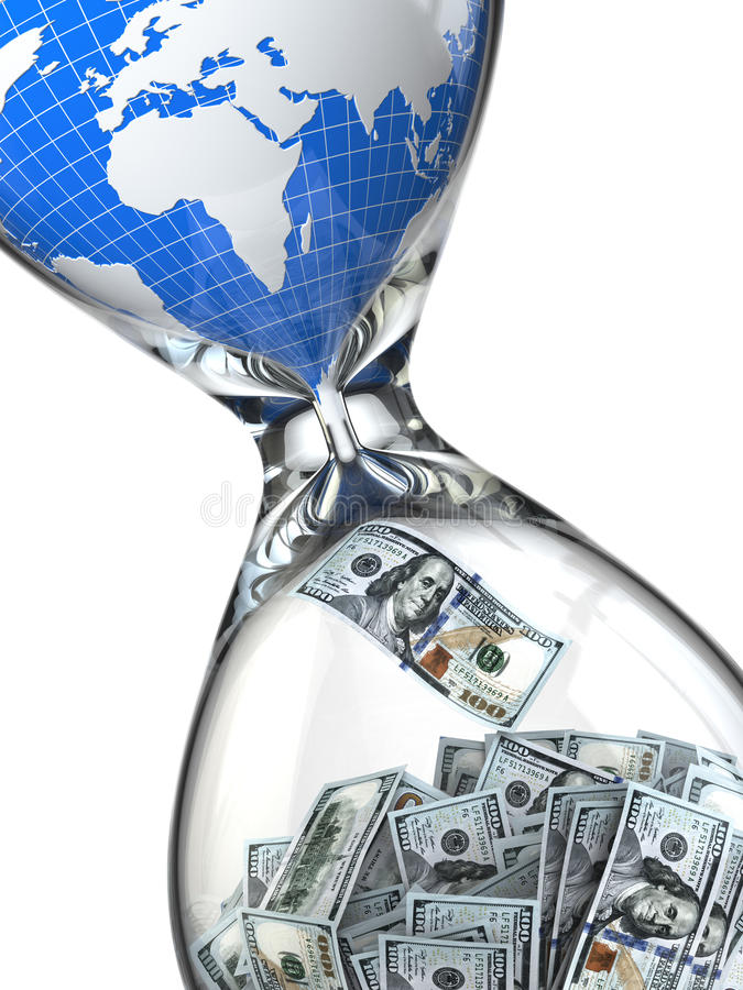 Hourglass, money and earth. Consumption of natural resources. 3d royalty free illustration
