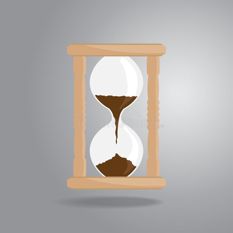 Hourglass old vintage icon flat style on gray background stock photo