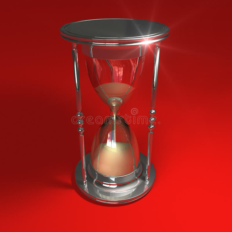 Hourglass on red vector illustration