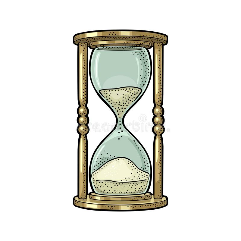 Hourglass retro Gravura do vintage do vetor ilustração do vetor