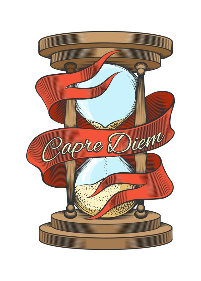 Hourglass in engraving style. Hourglass with ribbon and wording Capre Diem means Seize the day. Colorful hand drawn illustration in engraving style isolated on royalty free illustration