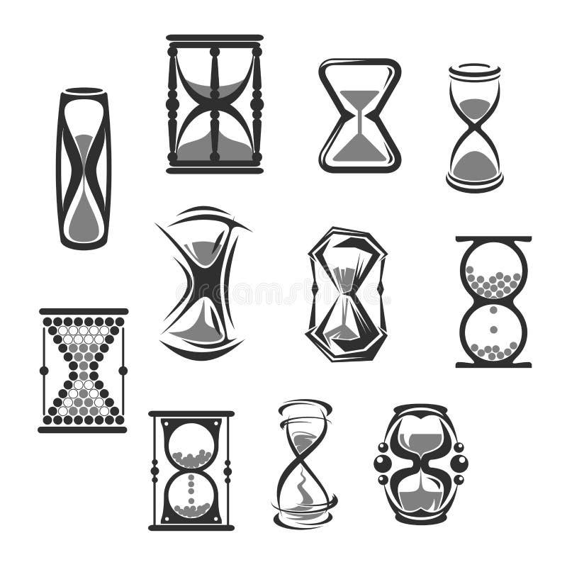 Hourglass, sandglass, piaska zegar lub zegarek ikony set, royalty ilustracja