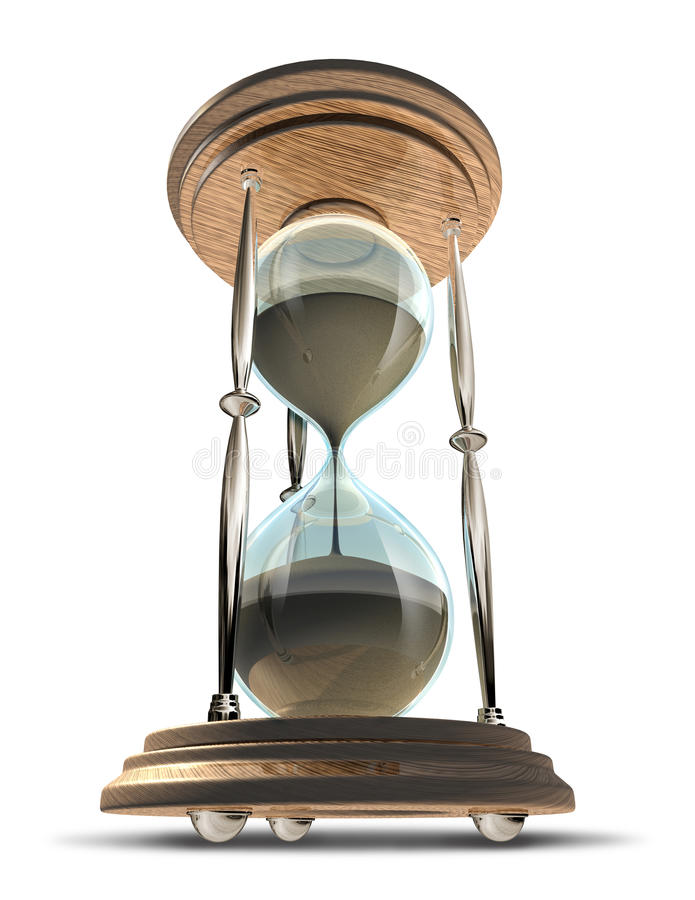 Hourglass symbol in a forced perspective stock illustration